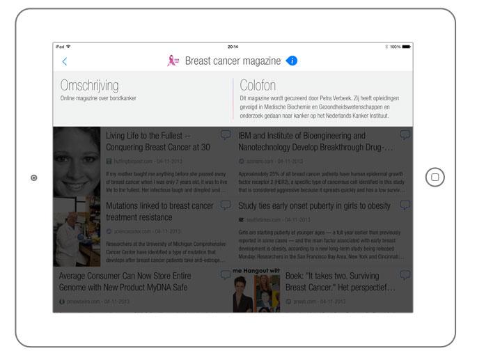 Colofon in the digital magazine shown on the iPad via BuzzTalk Reader